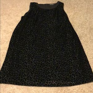 Marina Rinaldi Black Animal Print Velvet Dress